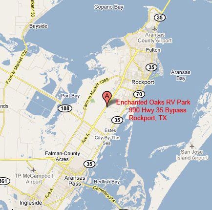 Enchanted Oaks RV Park in Rockport, TX - Map 1
