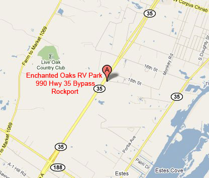 Enchanted Oaks RV Park in Rockport, TX - Map 2